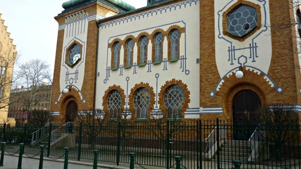 Malmö Synagogue, Malmö, Sweden. In August, 2014, a glass bottle was hurled at a Malmö rabbi and three windows in the synagogue were smashed.