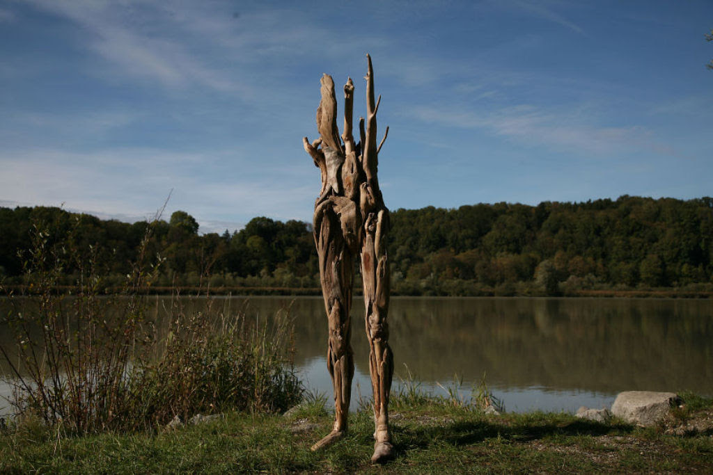 As inquietantes esculturas feitas com detrito de madeira no meio de bosque pelo japonês Nagato Iwasaki 08