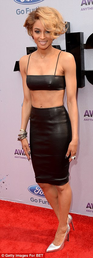 Lovely in leather: Ciara easily topped the best dressed list in a figure baring leather two piece