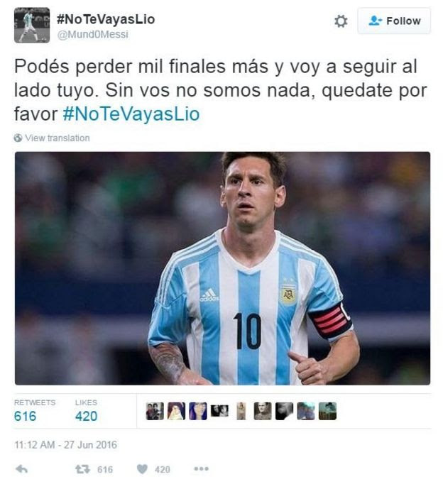 Tweet translated from Spanish reads, 'you can lose thousand more finals and I'll still be on your side. Without you we are nothing, please, stay hashtag Don't Go Lio'.