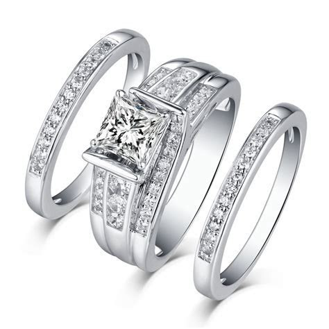 Princess Cut 925 Sterling Silver White Sapphire 3 Piece