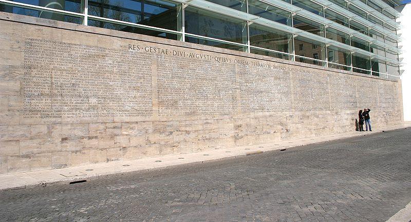 File:8161 - Roma - Testo Monumentum Ancyranum presso Ara Pacis - Foto Giovanni Dall'Orto, 29-Mar-2008.jpg