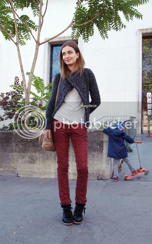 Andreea Diaconu wearing (Etoile) Isabel Marant jacket, pants and sneakers