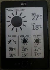 The finished job, a Kindle showing today's weather