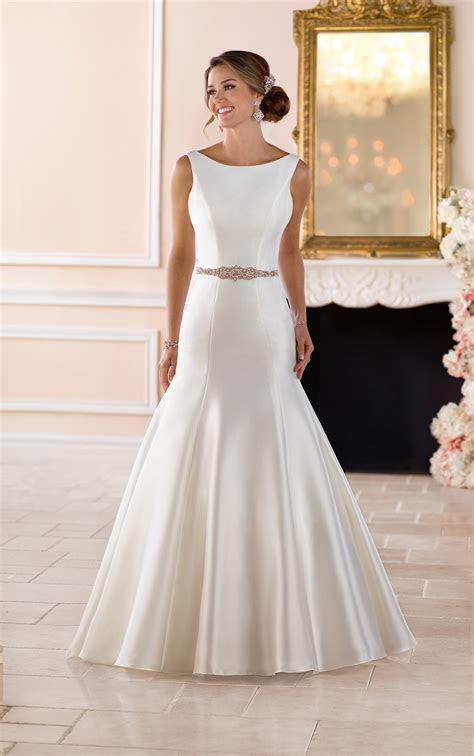 Boat Neck Wedding Dress with Deep V Back   Stella York
