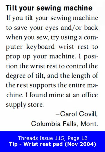 Threads Issue 115, Page 12 - Wrist rest  pad (Nov 2004)