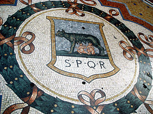 Detail from the mosaic floor in the Gallery Vi...
