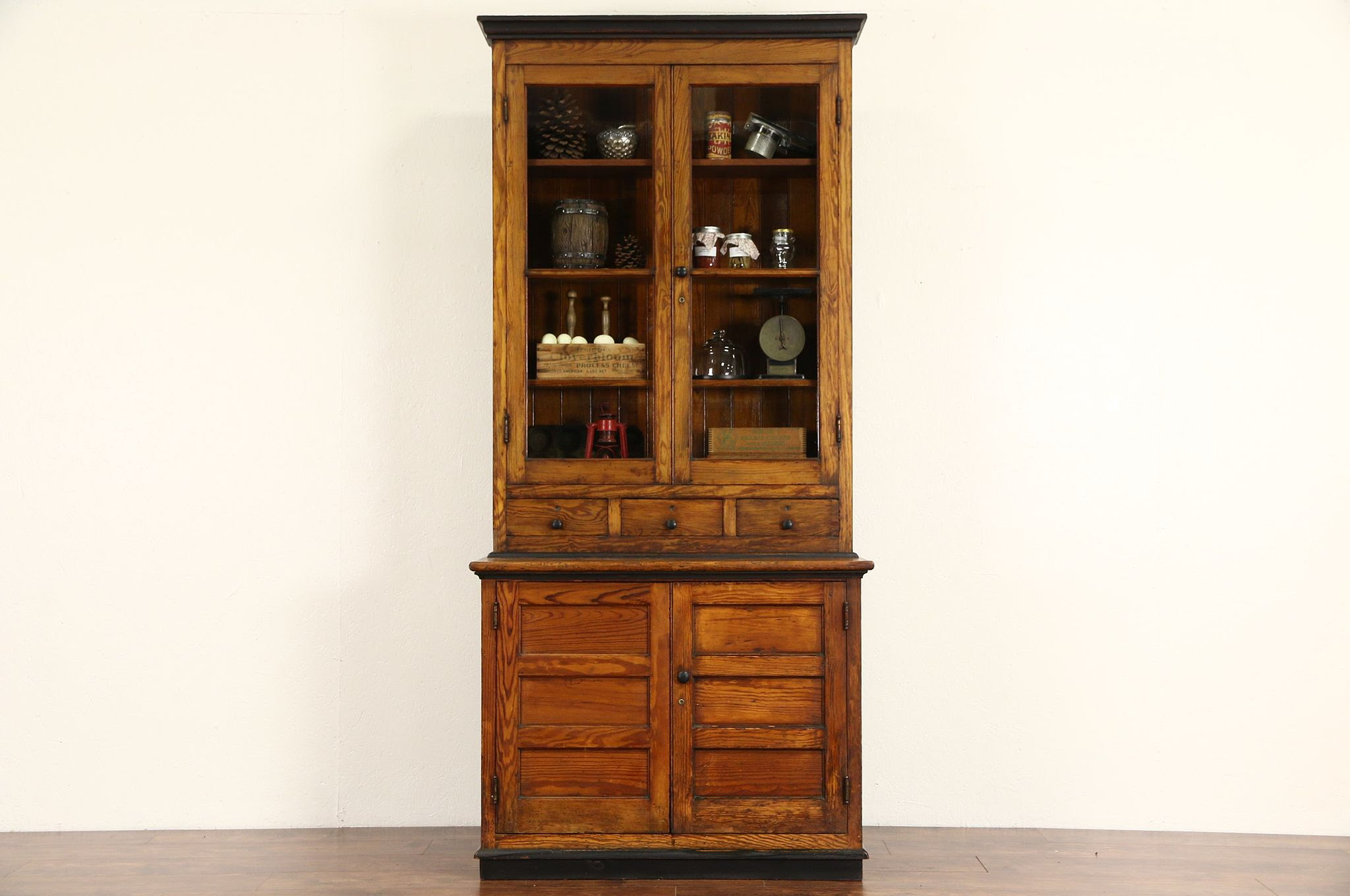 Sold Country Pine 1890 S Antique Pantry Cupboard Kitchen Cabinet Wavy Glass Doors Harp Gallery Antiques Furniture