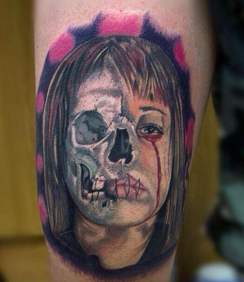 Awesome Half Skull Half Girl Tattoo Tattoos Book 65000 Tattoos