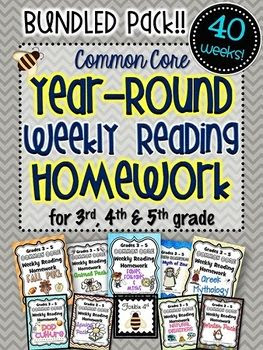 Common Core Weekly Reading Homework: 3rd-4th-5th Grade