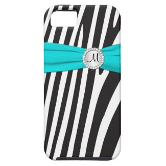 Monogrammed Aqua, Black, White Zebra Striped iPhone 5 Cases
