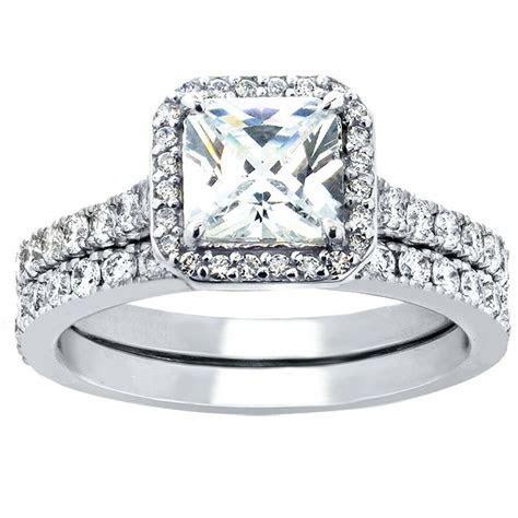 Hot 2 Pcs Women Princess Cut Sterling Silver Bridal