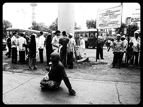 The Muslim Beggar Waiting For A Bus - Bandra Bus Depot by firoze shakir photographerno1