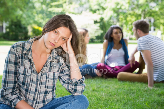 Lonely Student Feeling Excluded on Campus stock photos ...