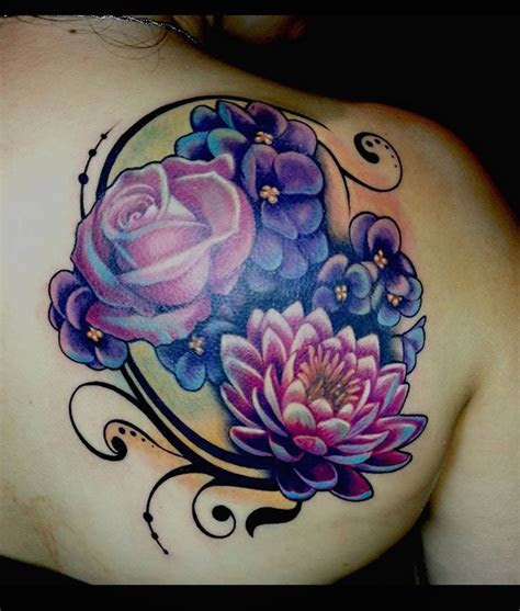 flower coverup purple rose tattoos cover tattoos