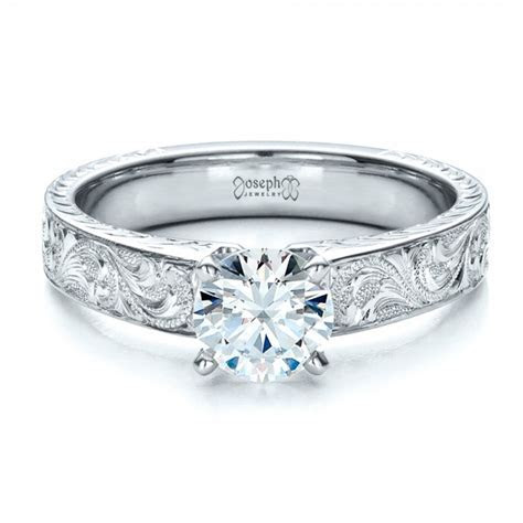 Custom Hand Engraved Solitaire Engagement Ring #1485