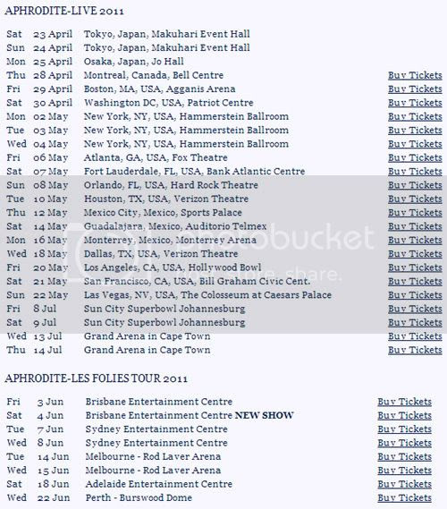 Kylie Tour Dates