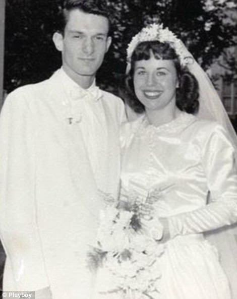 Hugh Hefner with his first wife Mildred Williams on their wedding day in 1949