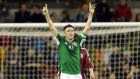 Republic of Ireland captain  Robbie Keane celebrates his goal against Latvia in the friendly international at the Aviva stadium. Photograph:  Alan Betson