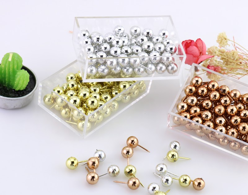 812f6cbfbb14 Buy 70pcs set gold sliver colors Push Pins Assorted Paper Map Cork Board  Capped Headed Fixing Thumb Tacks Pin Office School H0033 Cheap Online -  buyrer