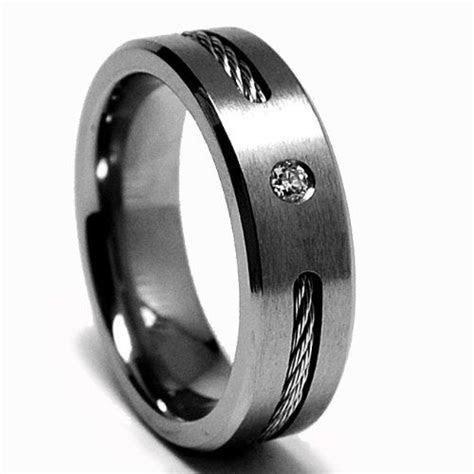 6 MM DIAMOND Titanium ring Wedding band with Stainless