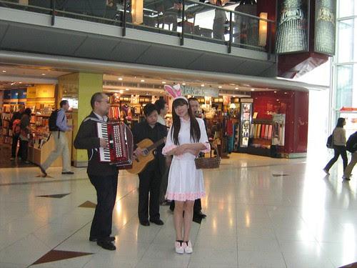 bunny woman in the Hong Kong airport