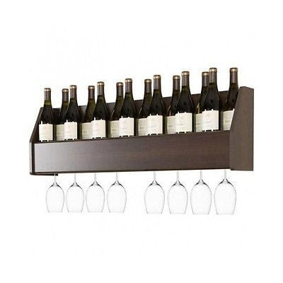Wall Mounted Wine Rack Wood Racks Floating Bottle Storage Glass Holder Shelf Bar