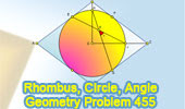 Problem 455: Rhombus, Inscribed Circle, Angle, Chord, 45 Degrees.