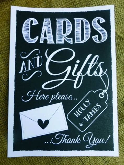 PERSONALISED cards & gifts table WEDDING SIGN chalkboard