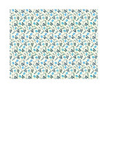 11b BOLD antique blue painted wallpaper flowers SMALL SCALE - A2 card size LANDSCAPE or HORIZONTAL