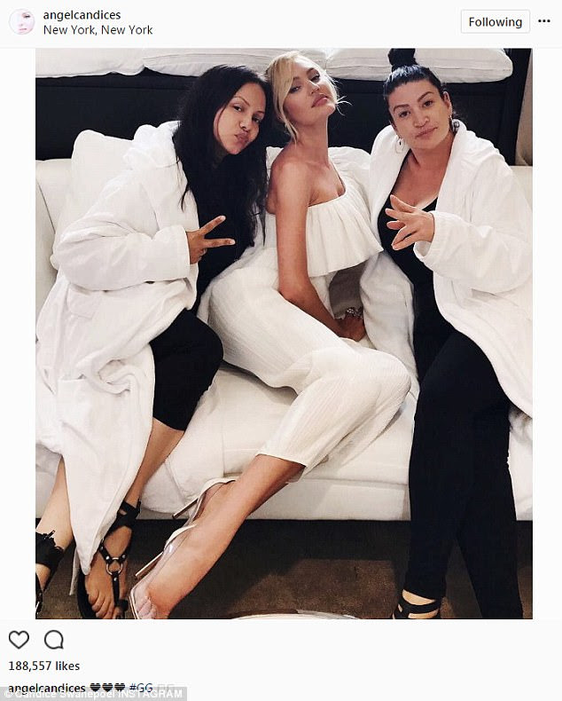 Glam squad: Swanepoel posed with her glam team before the launch ofViva La Juicy Glacé at the Edison Hotel in New York