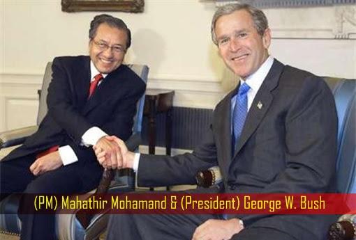 Mahathir Mohamad and George W Bush