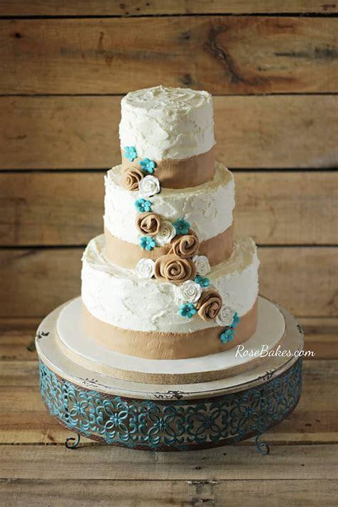 Rustic Burlap & Turquoise Flowers Wedding Cake   Rose Bakes