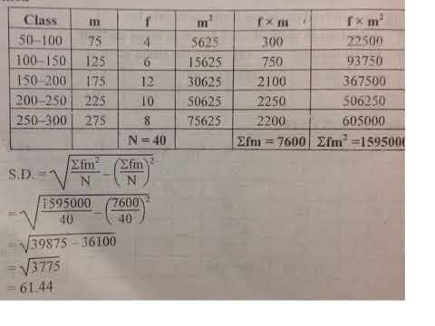 Standard deviation class ten, using direct method