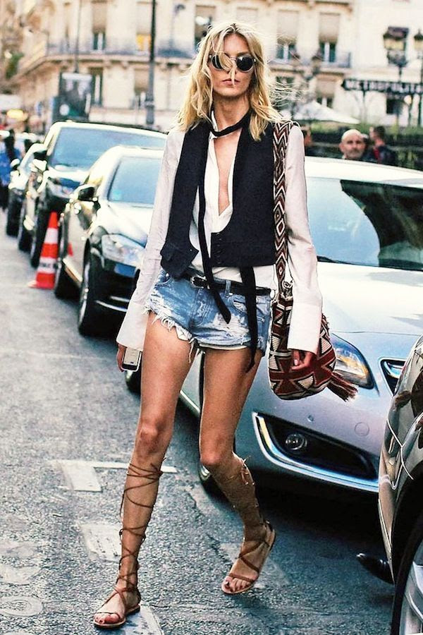 Le Fashion Blog Model Off Duty Anja Rubik Street Style Hippie Round Sunglasses Skinny Scarf Vest Cut Off Denim Shorts Lace Up Gladiator Sandals Via Vogue