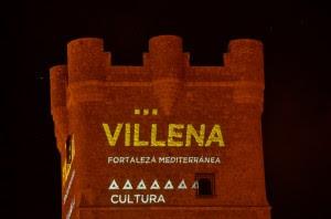 La nueva Marca-Villena proyectada en el Castillo. Foto de Villenacuéntame.