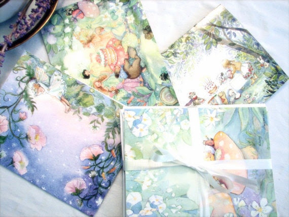 Friends and Fairies    a small Sampler Set of 4 blank notecards