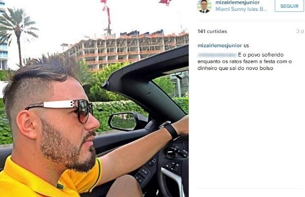 De licença por 'motivos particulares', vereador Mizair Lemes Jr de Goiásostenta em praia dos EUA  (Foto: Reprodução/Instagram)