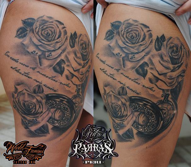 Rosas Y Reloj De Bolsillo Tatuajes Online