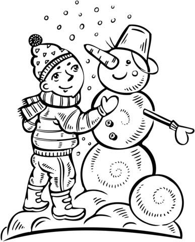 Dibujo De Niño Haciendo Un Muñeco De Nieve Para Colorear Dibujos