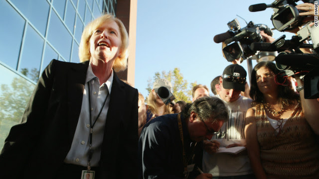 Arapahoe County District Attorney Carol Chambers talks to reporters Monday before heading into the courthouse. Chambers said the decision on whether to pursue the death penalty is a long process that involves input from victims and their families.