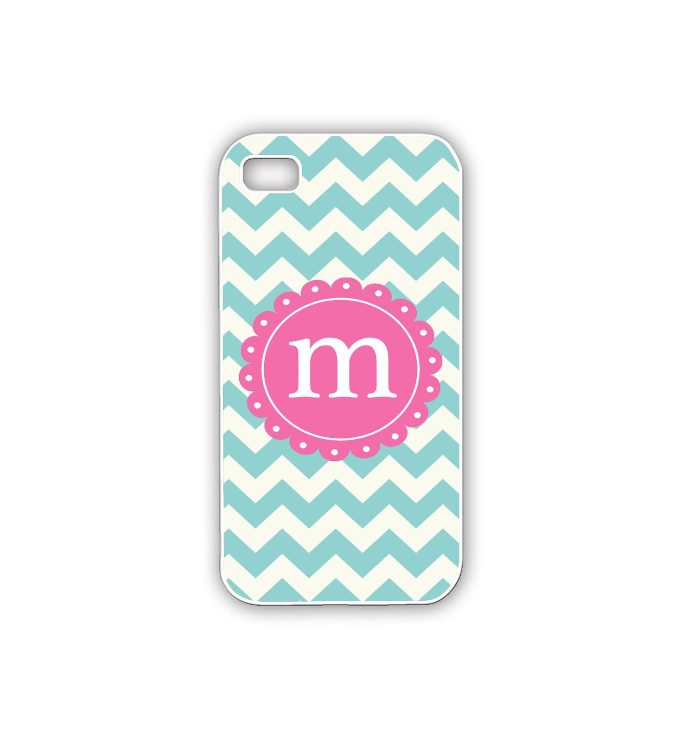 iPhone Case with Turquoise Chevron Monogrammed iPhone Case in Pink and Turquoise Womens iPhone Gift