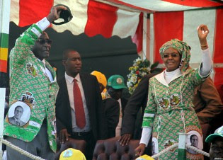 The concluding star rally for the Zimbabwe African National Union-Patriotic Front party. President Robert and First Lady Amai Grace wave to the party supporters. by Pan-African News Wire File Photos