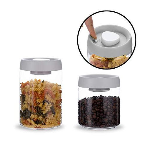 Rhinoglass Press Vacuum Seal Kitchen Storage Jar Set Integrated