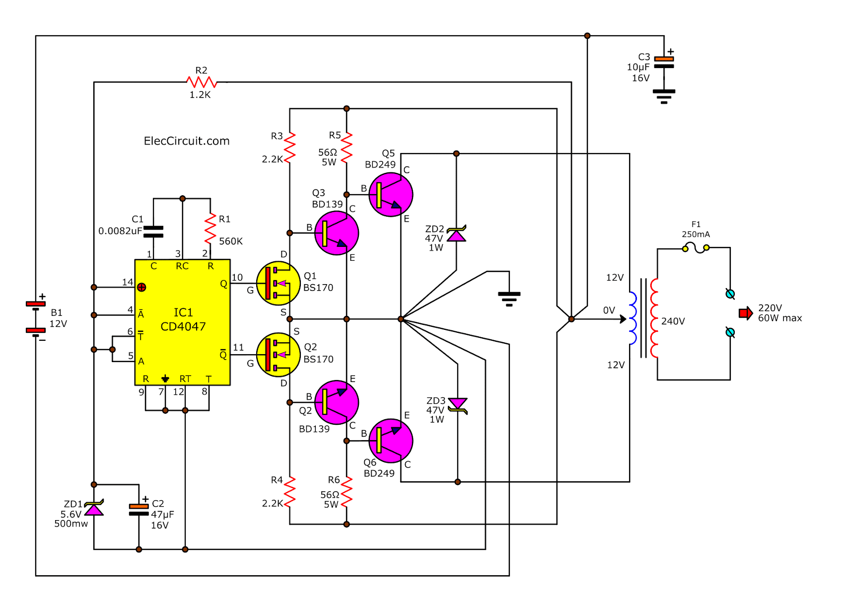 simple inverter circuit diagrams 1000w 1000w inverter circuit with irf540 | circuit diagram images #3