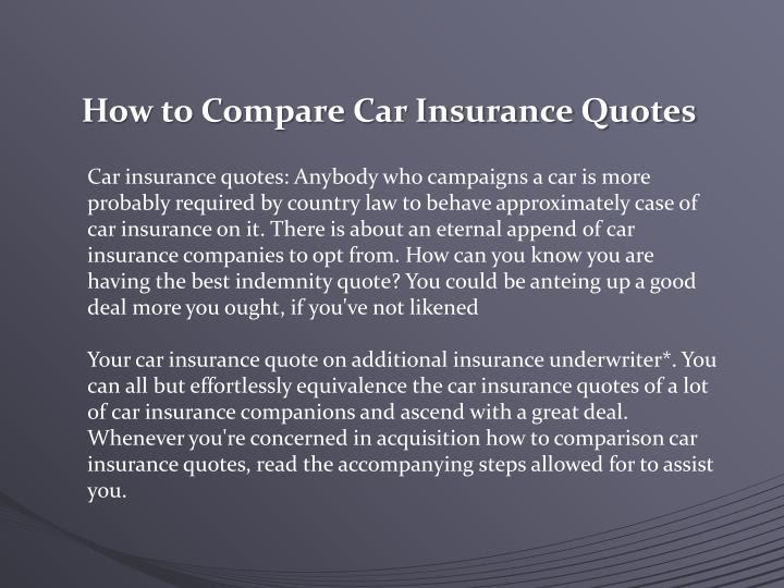 Auto Insurance Advice: How To Compare Auto Insurance