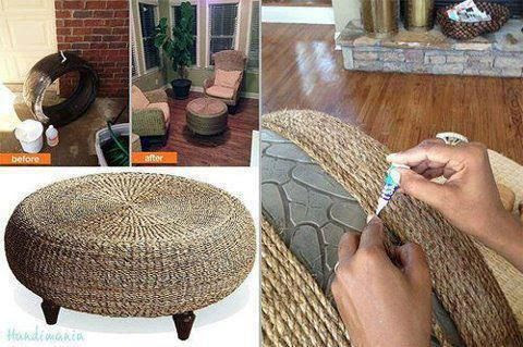 Seagrass Table made out of a Tire!  Shared by... — | Wicker Furniture Blog www.wickerparadise.com