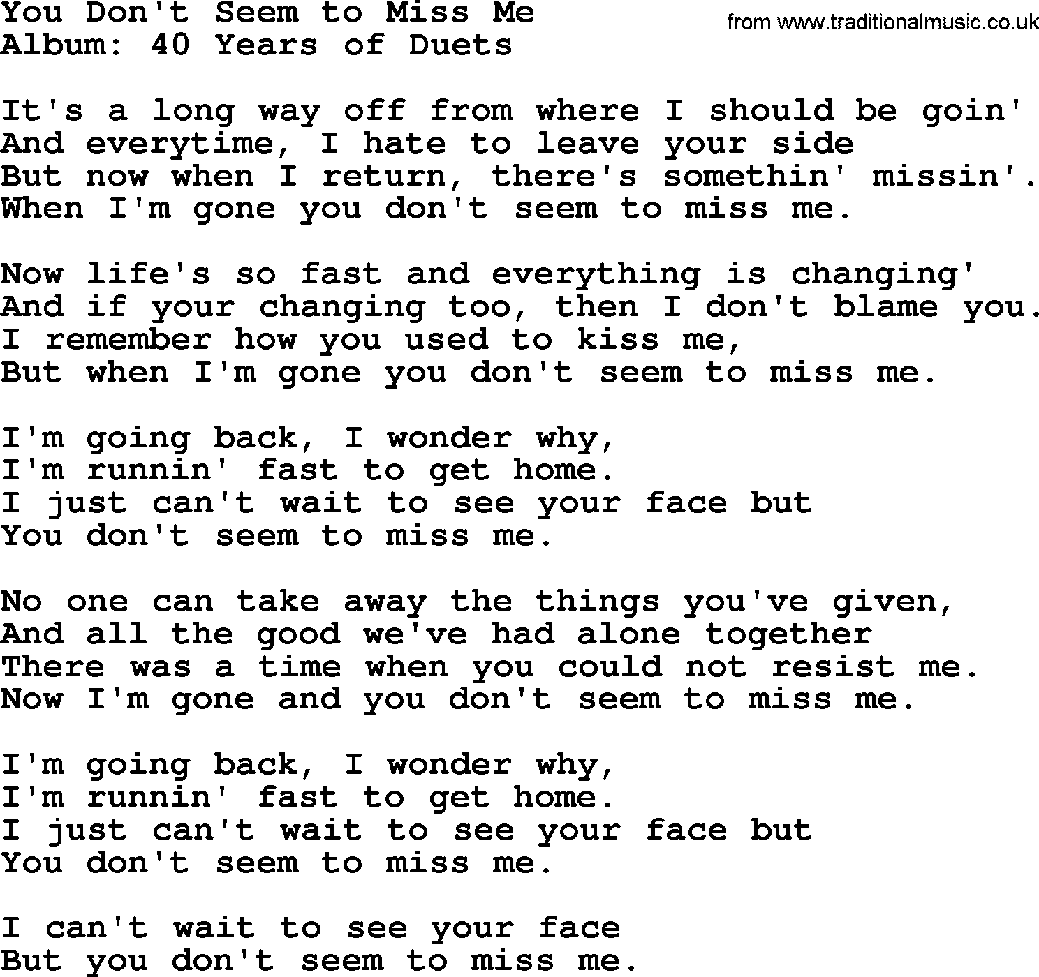 You Dont Seem To Miss Me By George Jones Counrty Song Lyrics