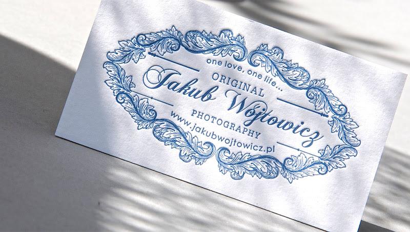 Blue ornamental letterpress business card