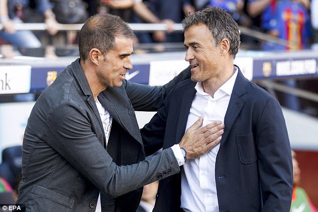 Barca boss Luis Enrique (right) greets Deportivo counterpart Gaizka Garitano before kick-off